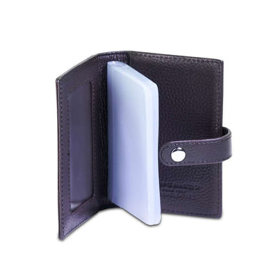 Leather Credit Card Holder with Button Strap