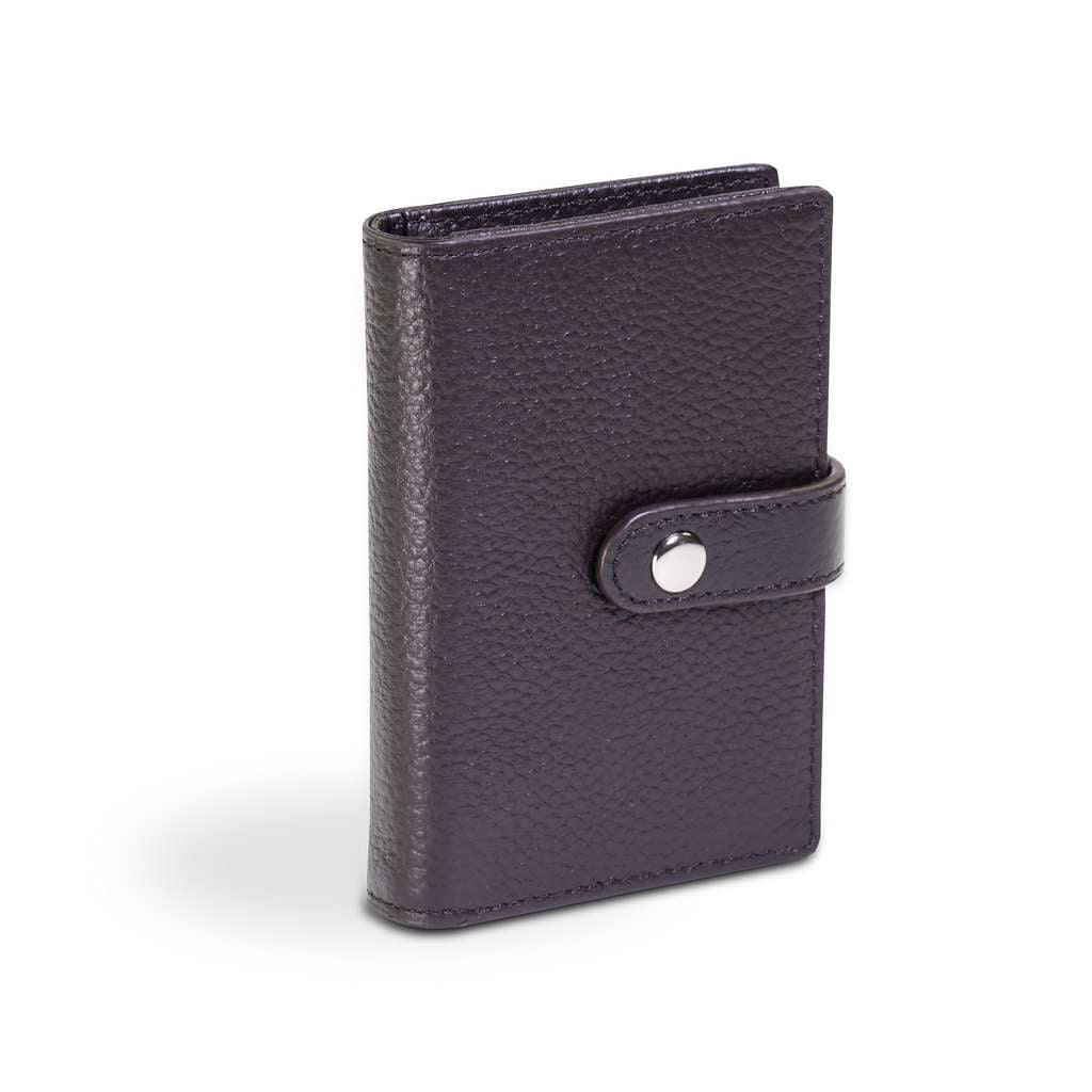 Leather Credit Card Holder with Button Strap - The HiO Life