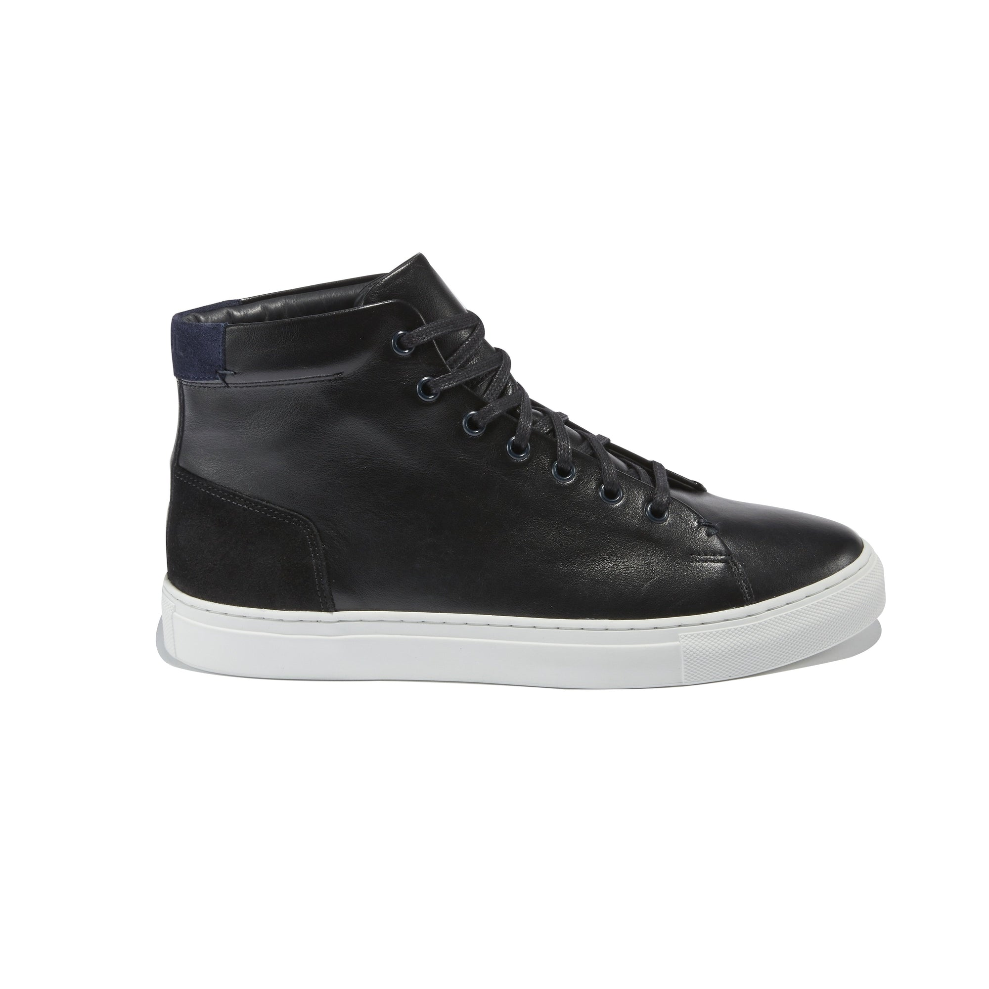 Men's Porto Hightop Sneaker in Black Leather - The HiO Life