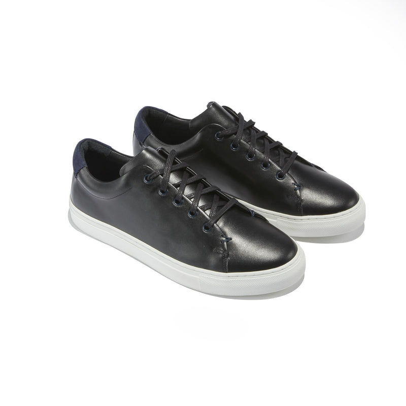 Men's Braga Sneaker in Black Leather - The HiO Life