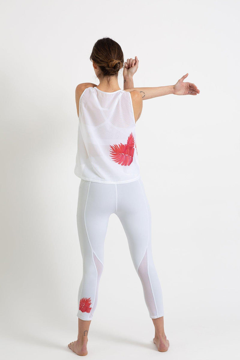 White leggings with Orange Leaf print