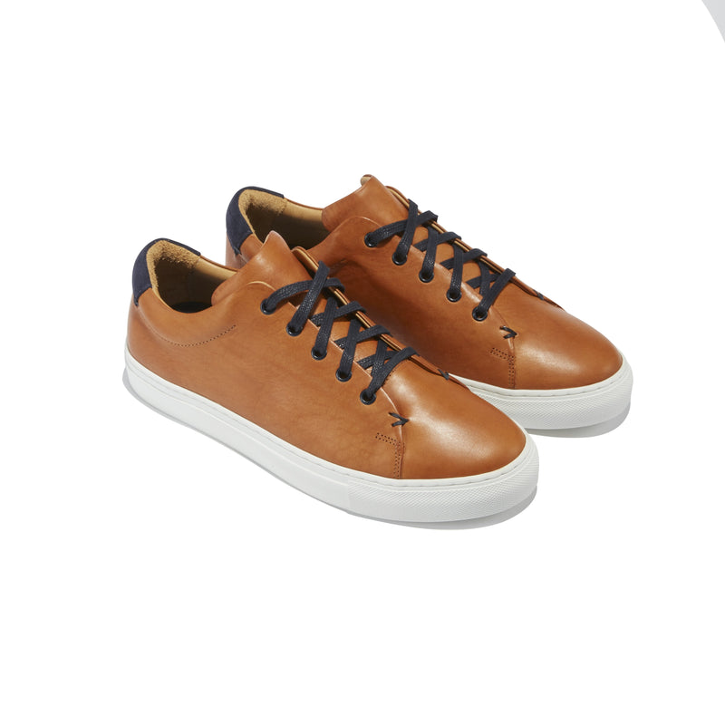 Men's Braga Sneaker in Cognac Leather - The HiO Life