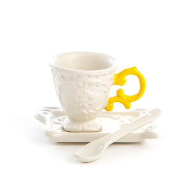 I-WARES COFFEE SET IN PORCELAIN WITH COLOURED HANDLE - YELLOW - The HiO Life
