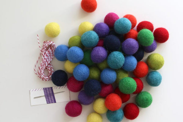 rainbow felt ball DIY garland kit