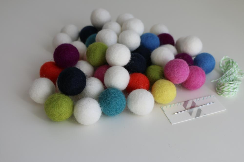 candy felt ball DIY garland kit