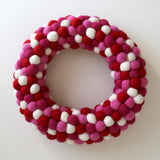 valentines felt ball wreath