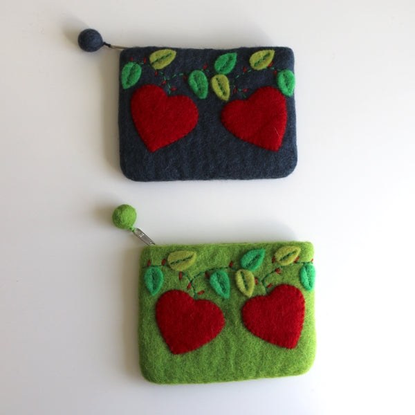 Hearts Felt Coin Purse