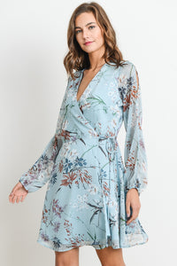 Long sleeve tropical dress