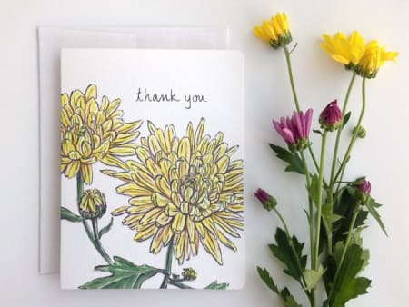 Chrysanthemum Thank you card pack