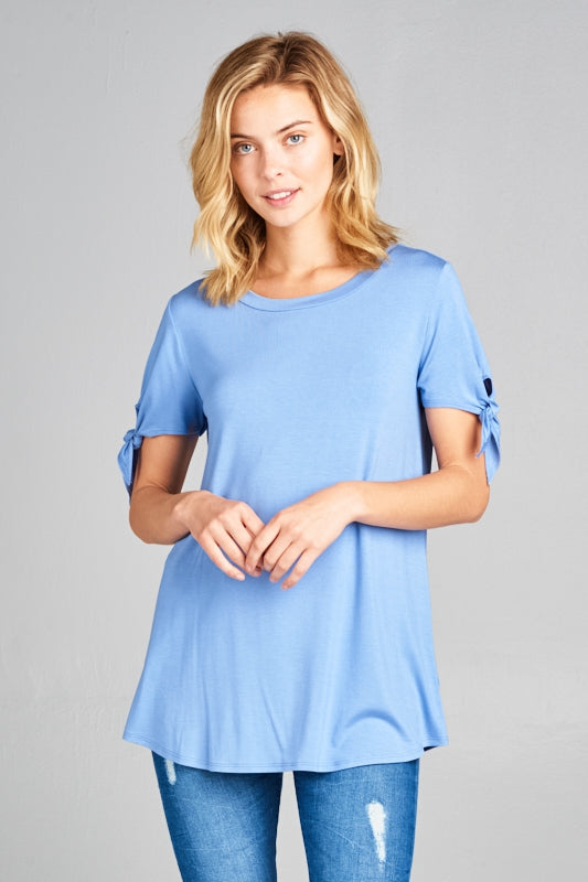 SOLID ROUND NECK TIE SLEEVE TOP
