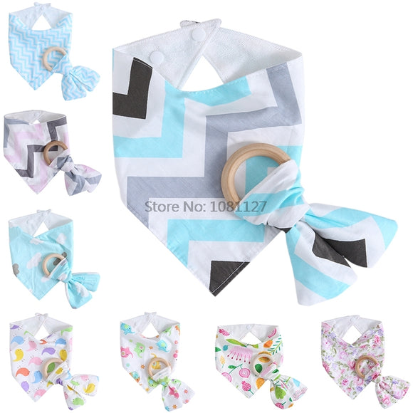 8 Styles 1 Set ,Triangle Bandana Bibs. Wooden Teether. -  J.A.C.K. KIDS