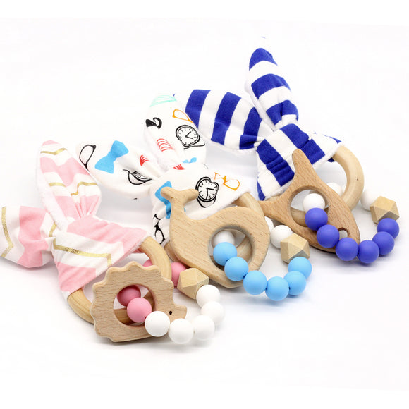 Teething Rings Bunny Ear 1pcs Rabbit Teether Ring For Baby Original Wood Teether Hand Weave  Baby Set of teeth -  J.A.C.K. KIDS