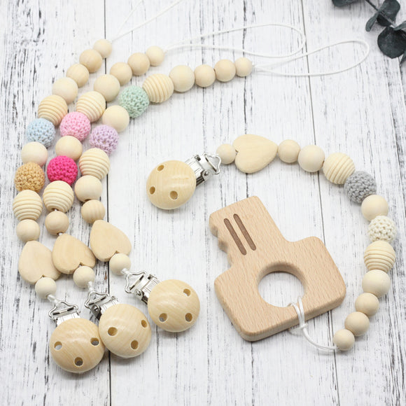 New Neutral color baby Pacifier Clip Holder with beech key Shaped Pendant Dummy holder Crochet beads new-born gift -  J.A.C.K. KIDS