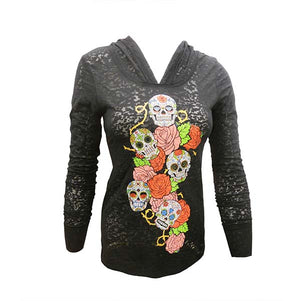Skulls and Roses Hoodie for Ladies
