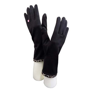 Black Gloves with Leopard Print Trim