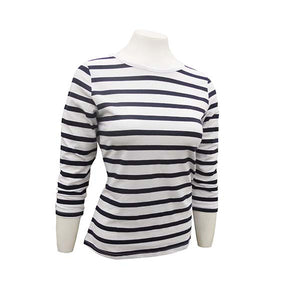 Breton Striped Ladies Top - 3/4 Sleeves
