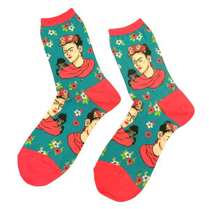 Frida Kahlo Crew Socks - Portrait with Monkey