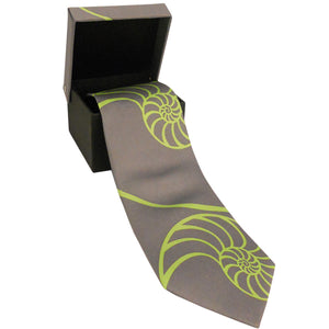Nautilus Neck Tie Gray with Large Lime Shells