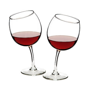 Tipsy Wine Glasses - Set of 2