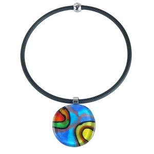 Murano Glass Blue Abstract Necklace