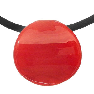 Murano Glass Disco Necklace in red