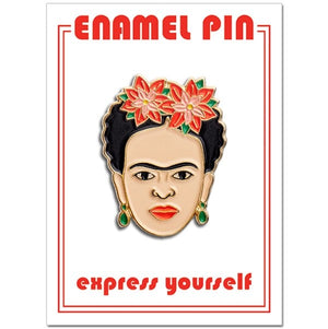 Frida Kahlo Pin with Poinsettias - enamel