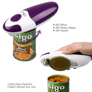 BangRui Smooth Soft Edge Electric Can Opener with One-Button Start and One-Button Manual Stop (Purple)
