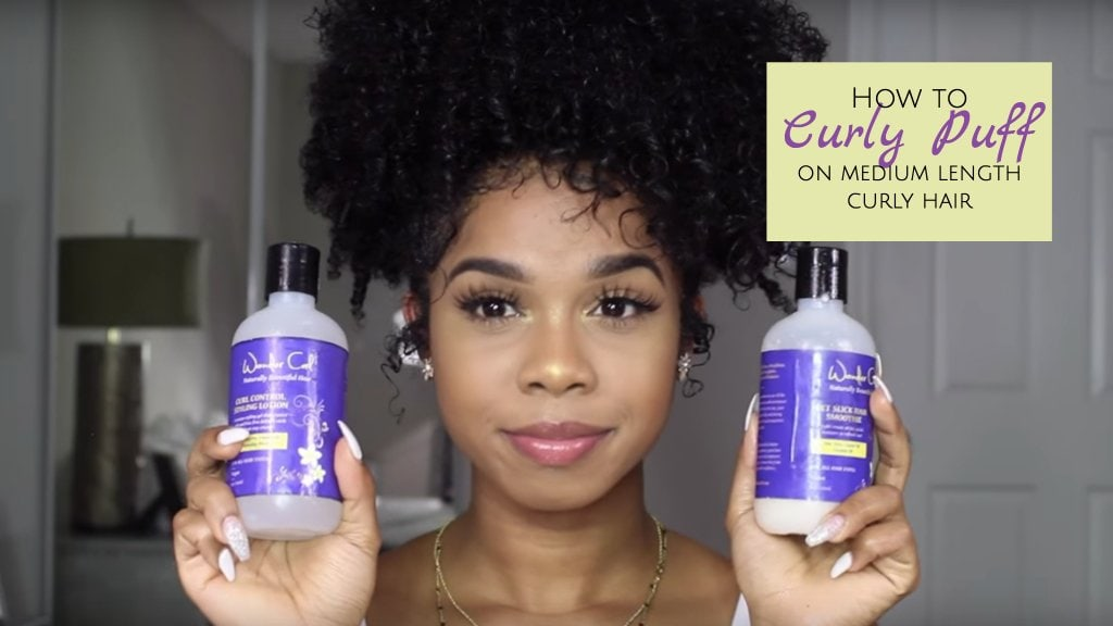 How to curly puff on medium length natural hair
