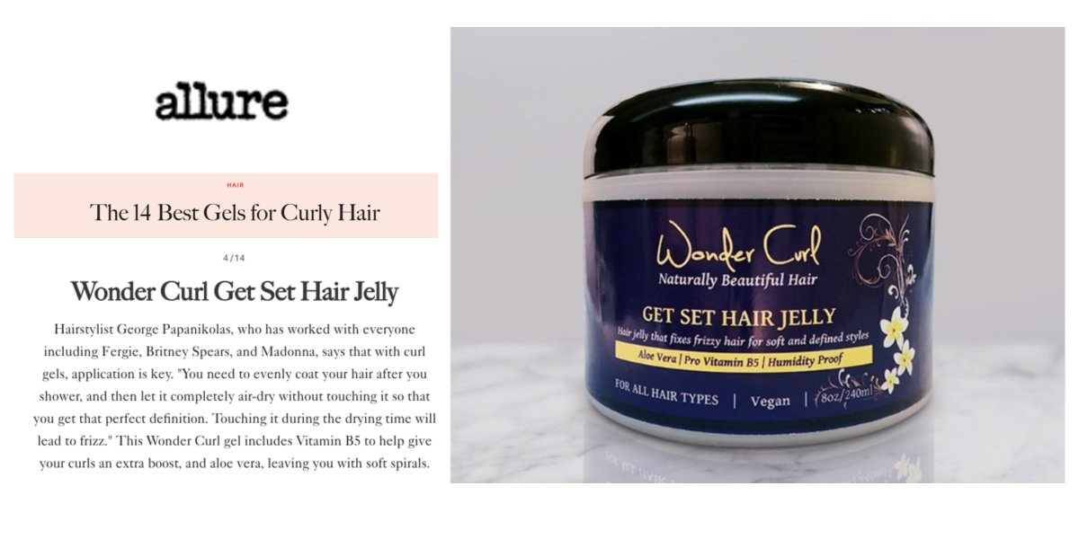 Get Set Hair Jelly named one of best gels for curly hair by Allure