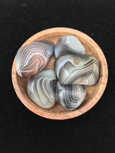 Grey Banded Agate Tumbled Stones (5) Five
