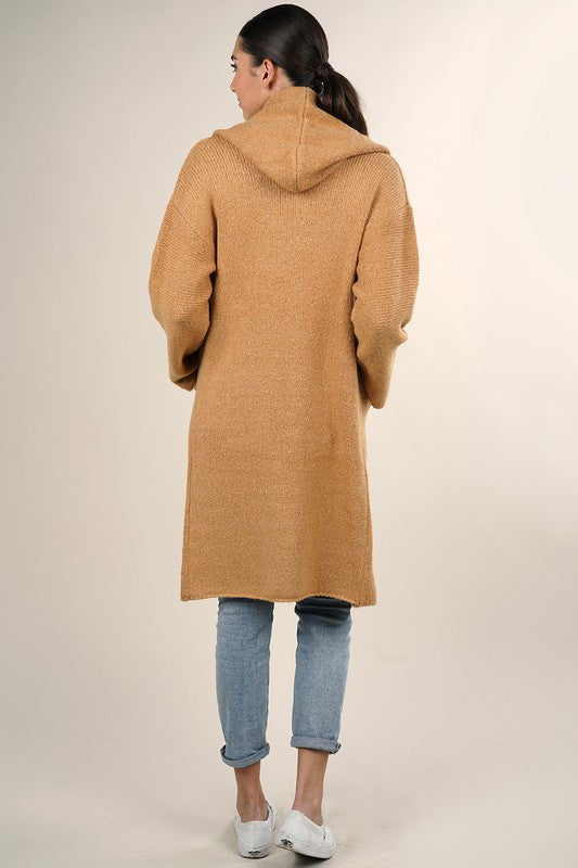 OVERSIZED TWO POCKET CARDIGAN - CAMEL