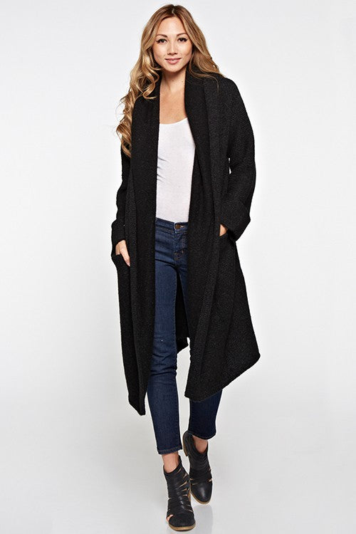 OVERSIZED TWO POCKET CARDIGAN - BLACK