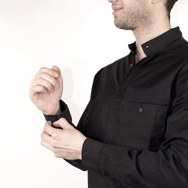 COLLARLESS BUTTON DOWN - BLACK