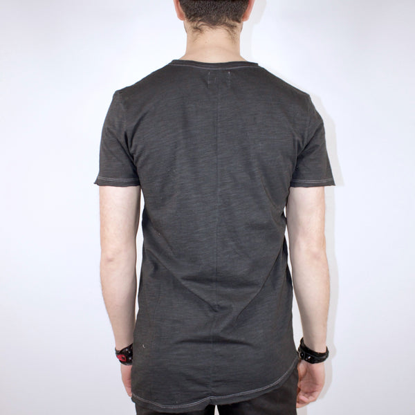 BASIC SHORT SLEEVE TOP - CHARCOAL
