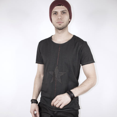 SCOOP NECK TOP - CHARCOAL