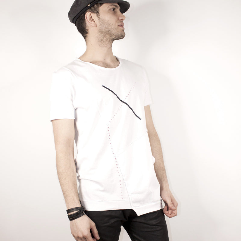 ASYMMETRICAL SHORT SLEEVE - WHITE