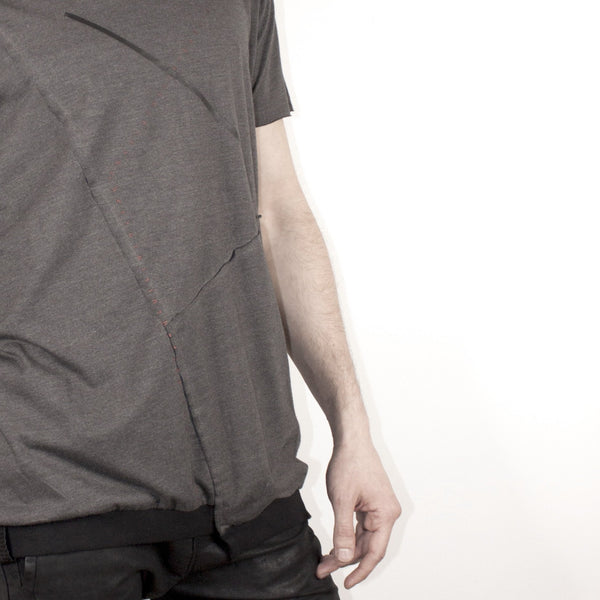 ASYMMETRICAL SHORT SLEEVE - GREY