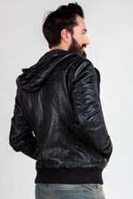 MARCO HOODED LEATHER JACKET - NAVY