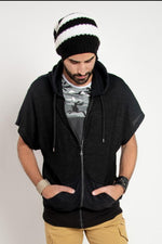 HOODED CAP SLEEVES - BLACK