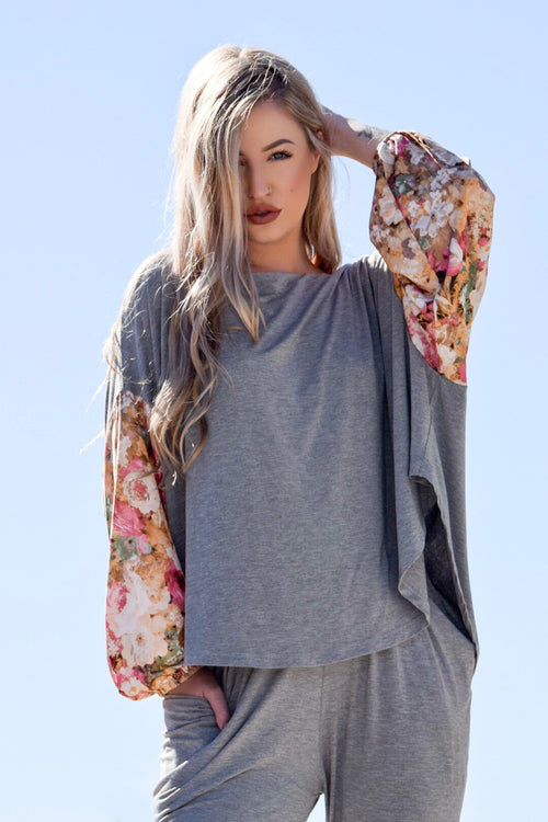 womens grey oversize bamboo top
