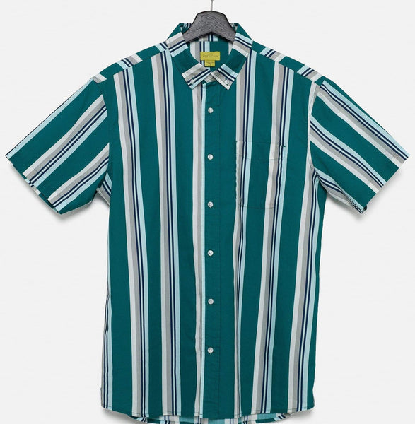 SHORT SLEEVE BUTTON UP - RETRO STRIPE