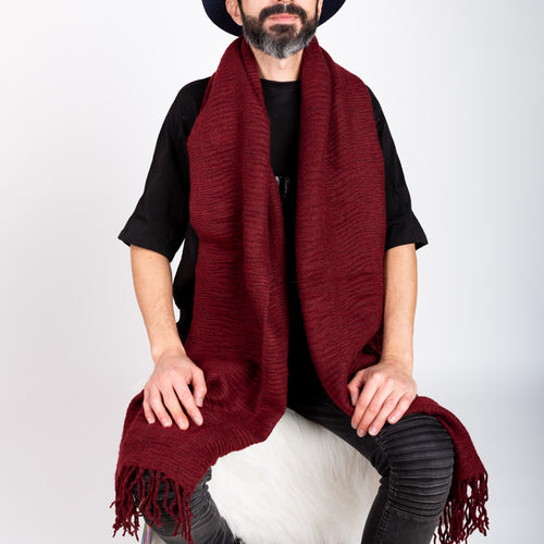 SOFT RIDGE SCARF- BURGUNDY