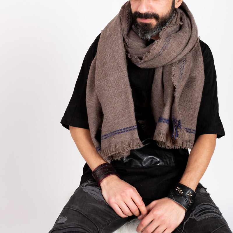 BLANKET SCARF - BROWN