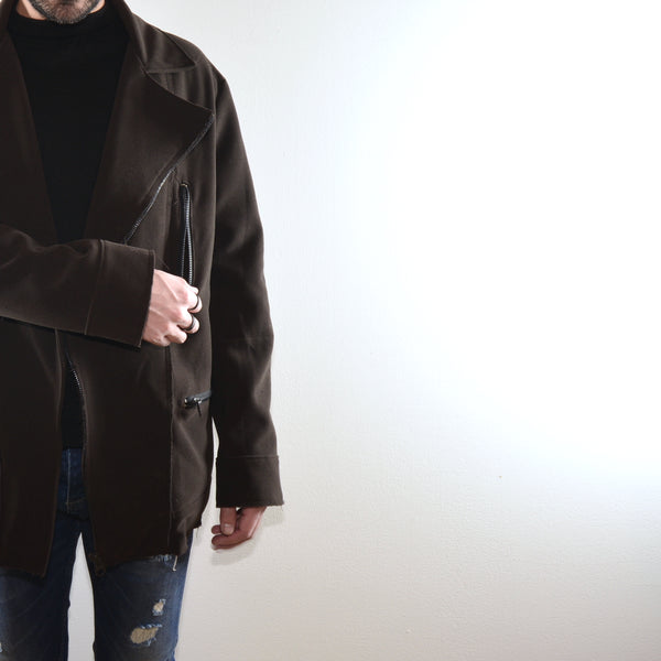 ASYMETRICAL COAT - BROWN