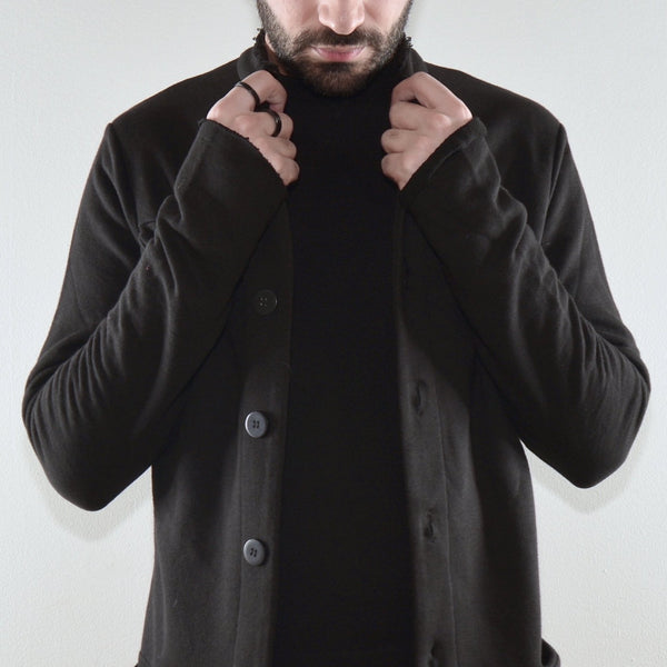 BUTTON DOWN CARDIGAN - BLACK