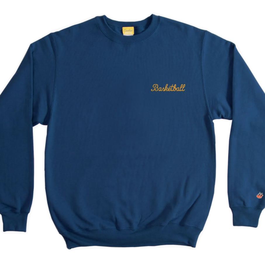 Basketball Embroidered Crewneck (Dark Blue)