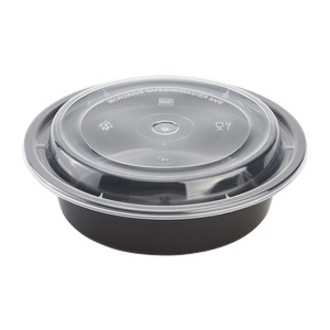 16oz Meal Prep Container - 16 oz Microwavable Round Food Containers & Lids - Black - 150 ct-To-Go Packaging-Karat-Restaurant Supply Drop