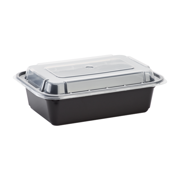 Meal Prep Containers 24 oz - Microwavable Rectangular Food Containers & Lids - Black - 150 ct-To-Go Packaging-Karat-Carry Out Supplies