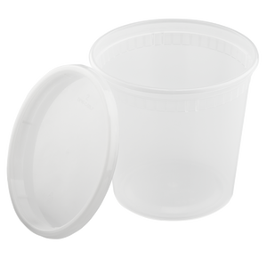 24oz Injection Molded Deli Containers with Lids - 24 oz Plastic Soup Containers - 240 ct-Restaurant Supply Drop