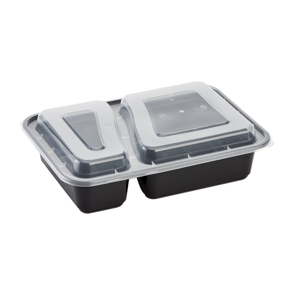 30oz Meal Prep Containers - Microwavable Rectangular Food Containers & Lids - Black - 2 Compartment Bento Box - 150 ct-To-Go Packaging-Karat-Restaurant Supply Drop